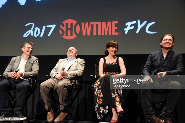 Executive producers Brian Koppelman and David Levien with actors Paul Giamatti Maggie Siff and Toby Leonard Moore speak during the SHOWTIMEpresented...