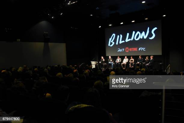 Executive producers Brian Koppelman and David Levien with actors Paul Giamatti Maggie Siff Toby Leonard Moore Asia Kate Dillon and David Costabile...