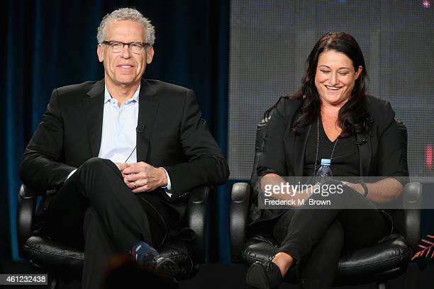 Executive Producers Carlton Cuse and Raelle Tucker speak onstage during 'The Returned' panel at the AE Networks portion of the 2015 Winter Television...