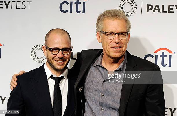 Executive producers Damon Lindelof and Carlton Cuse arrive at The Paley Center Media's PaleyFest 2014 Honoring 'Lost' 10th Anniversary Reunion at the...