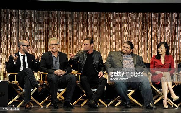 Executive producers Damon Lindelof, Carlton Cuse, actors Josh Holloway, Jorge Garcia and Yunjin Kim appear onstage at The Paley Center Media's...
