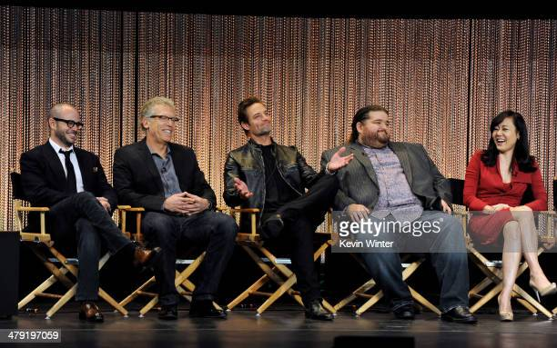 Executive producers Damon Lindelof Carlton Cuse actors Josh Holloway Jorge Garcia and Yunjin Kim appear onstage at The Paley Center Media's PaleyFest...