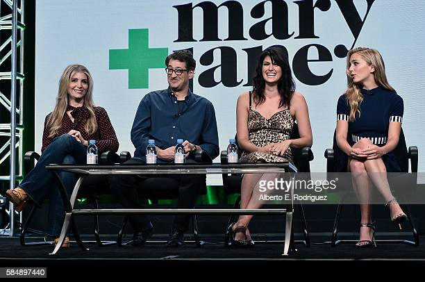 Executive producers Deborah Kaplan Harry Elfont actors Scout Durwood and Jessica Rothe attend MTV TCA Summer 2016 at the Beverly Hilton Hotel on July...