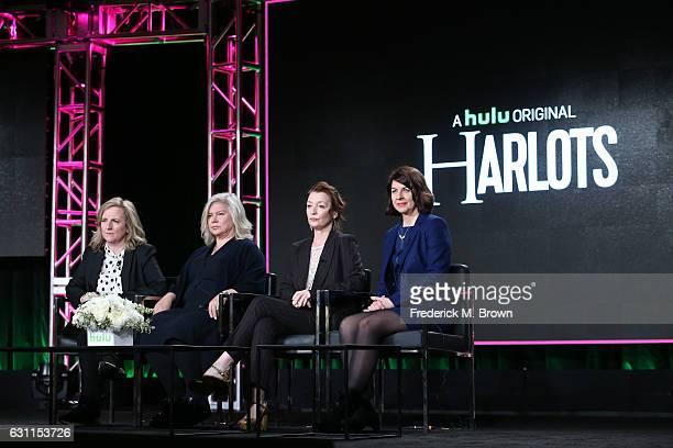 Executive producers Debra Hayward Alison Owen actress Lesley Manville and executive producer Moira Buffini of Hulu's Original Series 'Harlots' speak...