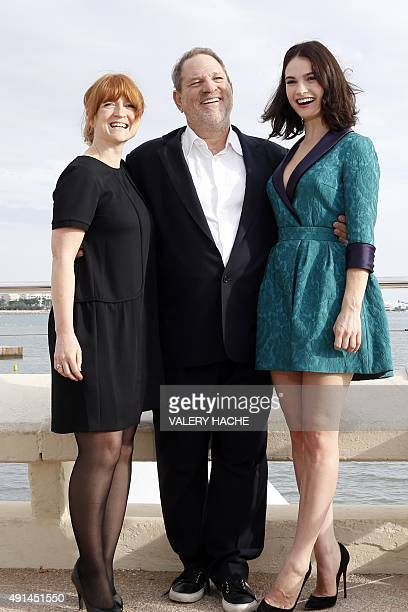 Executive Producers Faith Penhale and Harvey Weinstein and British actress Lily James pose for the photocall of the TV series War and Peace during...