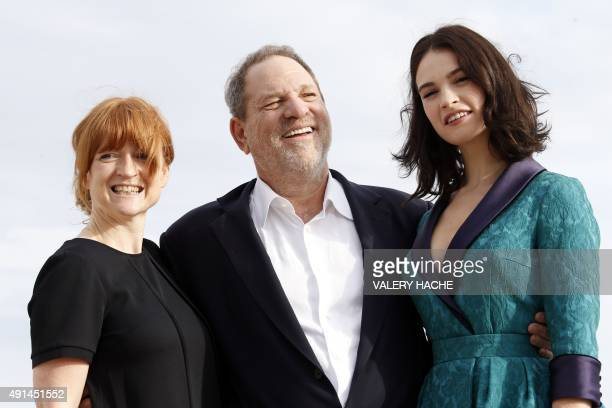 "Executive Producers Faith Penhale and Harvey Weinstein and British actress Lily James pose for the photocall of the TV series ""War and Peace"" during..."