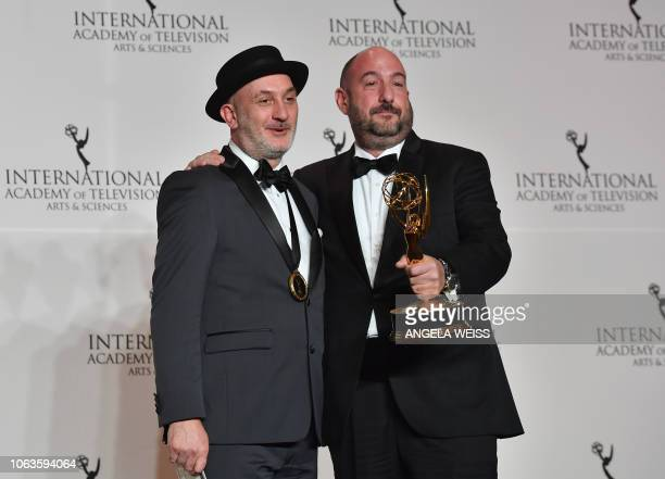 Executive Producers Fernando Gaston and Alejandro Rincon pose with the NonEnglish Language US Primetime Program award during the 46th International...