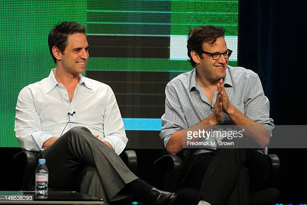 Executive producers Greg Berlanti and Andrew Kreisberg speak at the 'Arrow' discussion panel during the CW portion of the 2012 Summer Television...