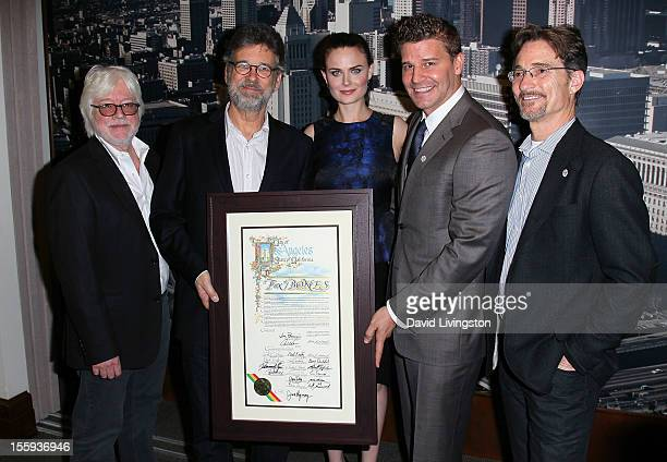 Executive producers Ian Toynton and Stephen Nathan actors Emily Deschanel and David Boreanaz and executive producer Barry Josephson attend the LA...