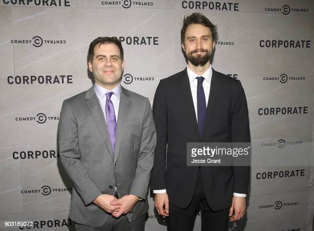 Executive producers Jake Weisman and Matt Ingebretson attend Comedy Central's 'Corporate' Premiere Party at OUE Skyspace LA on January 9 2018 in Los...