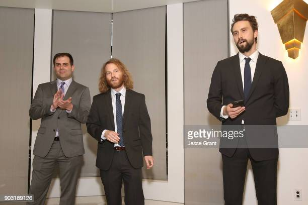 Executive producers Jake Weisman Pat Bishop and Matt Ingebretson attend Comedy Central's 'Corporate' Premiere Party at OUE Skyspace LA on January 9...