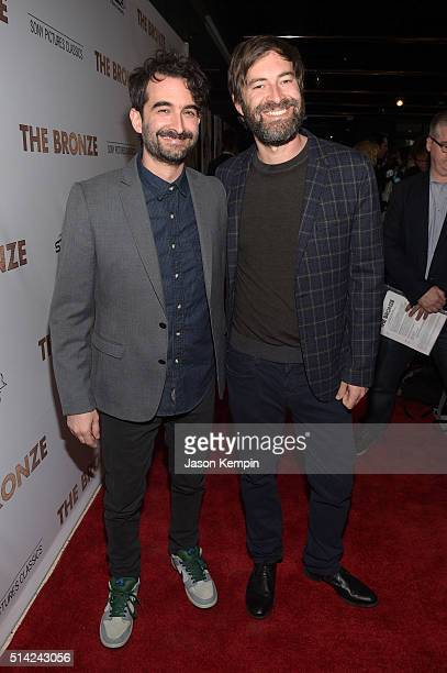 Executive producers Jay Duplass and Mark Duplass attend the premiere of Sony Pictures Classics' The Bronze at the Regent Theater on March 7 2016 in...