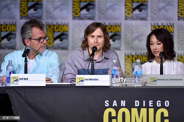Executive producers Jeffrey Bell Jed Whedon and Maurissa Tancharoen attend the 'Marvel's Agents of SHIELD' panel during ComicCon International 2016...