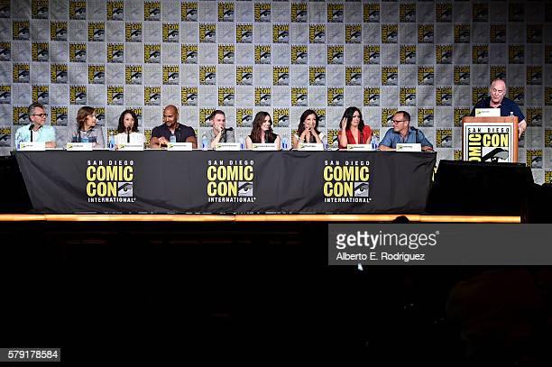 Executive producers Jeffrey Bell Jed Whedon and Maurissa Tancharoen actors Henry Simmons Iain De Caestecker Elizabeth Henstridge MingNa Wen Chloe...