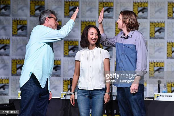 Executive producers Jeffrey Bell Maurissa Tancharoen and Jed Whedon attend the 'Marvel's Agents of SHIELD' panel during ComicCon International 2016...