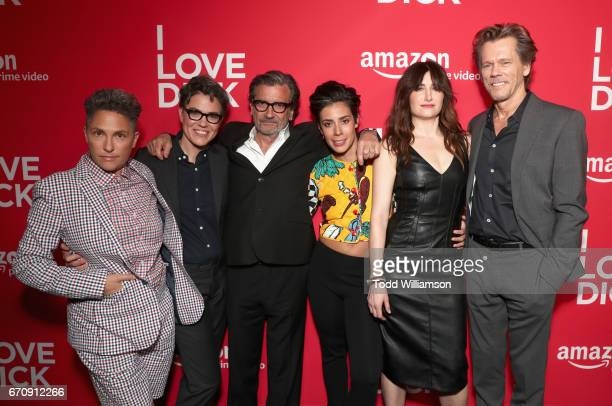 Executive producers Jill Soloway Sarah Gubbins actors Griffin Dunne Roberta Colindrez Kathryn Hahn and Kevin Bacon attend the red carpet premiere of...