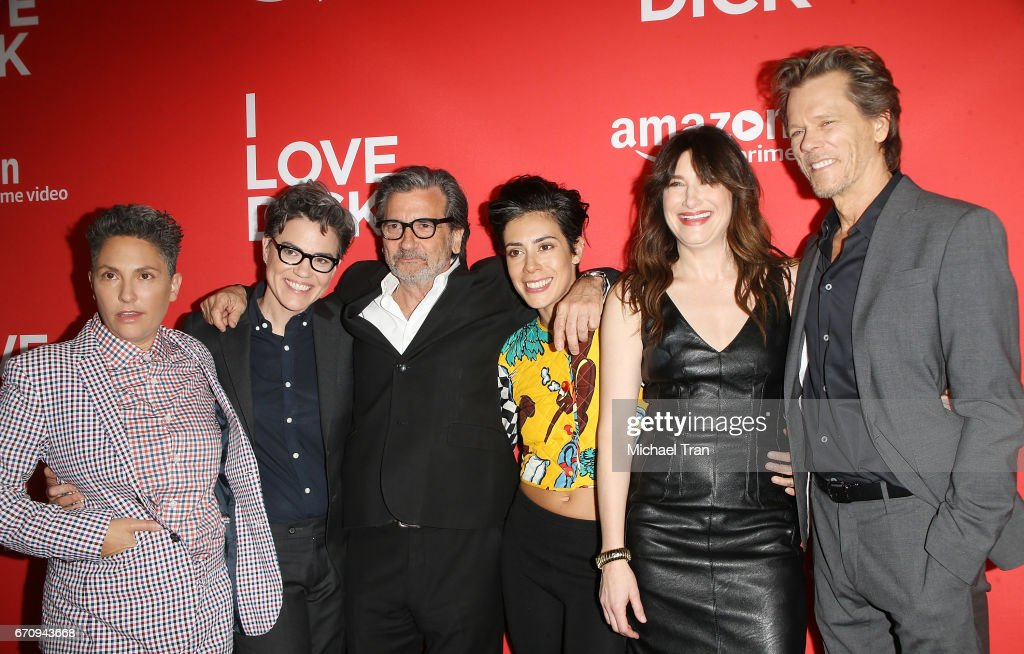 Executive producers Jill Soloway, Sarah Gubbins, actors Griffin Dunne, Roberta Colindrez, Kathryn Hahn and Kevin Bacon arrive at the Los Angeles premiere of Amazon's 'I Love Dick' held at Linwood Dunn Theater on April 20, 2017 in Los Angeles, California.