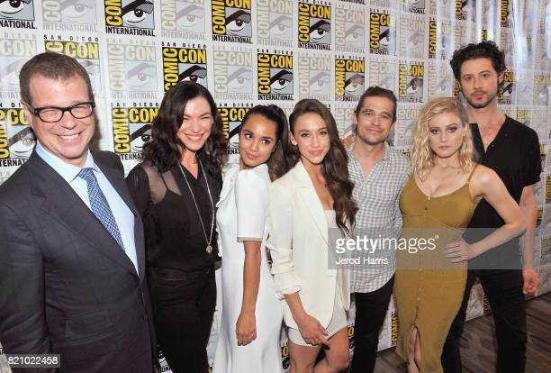 Executive producers John McNamara Sera Gamble actors Summer Bishil Stella Maeve Jason Ralph Olivia Taylor Dudley and Hale Applemanat 'The Magicians'...