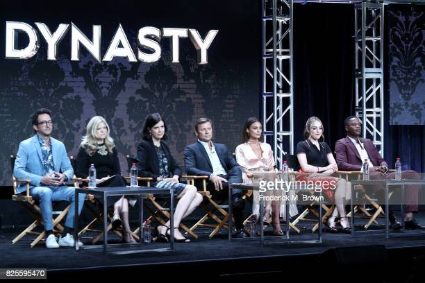 Executive producers Josh Schwartz Stephanie Savage and Sallie Patrick and actors Grant Show Nathalie Kelley Elizabeth Gillies and Sam Adegoke of...