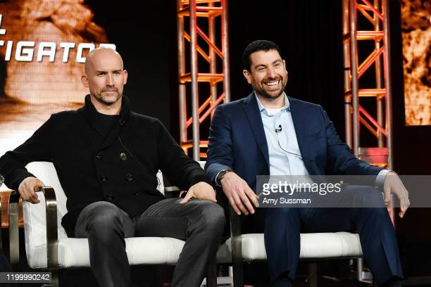 Executive producers Kelly Smith and Matthew Kelly of Rob Riggle Global Investigation speak during the Discovery Channel segment of the 2020 Winter...