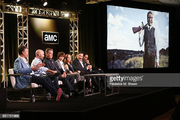 Executive producers Kevin Murphy and Philipp Meyer and actors Pierce Brosnan, Jacob Lofland, Sydney Lucas, Carlos Bardem and Zahn McClarnon of the...