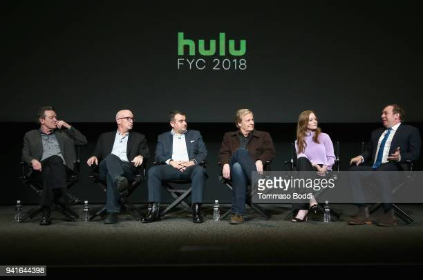 Executive producers Lawrence Wright Alex Gibney Ali Soufan actors Jeff Daniels Wrenn Schmidt and Bill Camp speak onstage during the 'The Looming...