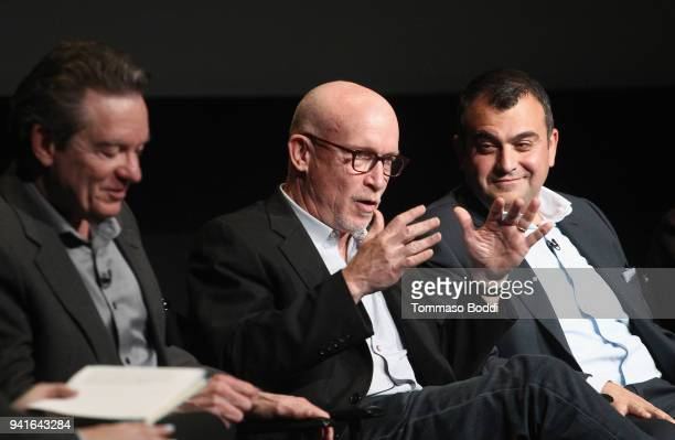 Executive producers Lawrence Wright Alex Gibney and Ali Soufan speak onstage during the The Looming Tower FYC screening at the Television Academy on...