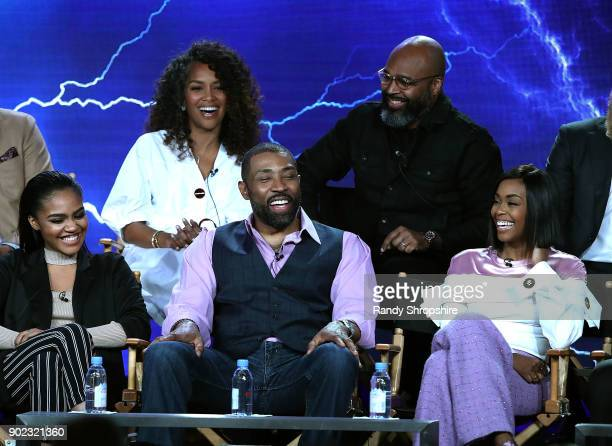 Executive Producers Mara Brock Akil Salim Akil China Anne McClain Cress Williams and Nafessa Williams of the television show 'Black Lightning' speak...