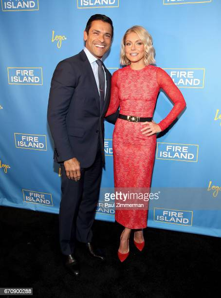Executive producers Mark Consuelos and Kelly Ripa attend the Fire Island New York Premiere at Atlas Social Club on April 20 2017 in New York City