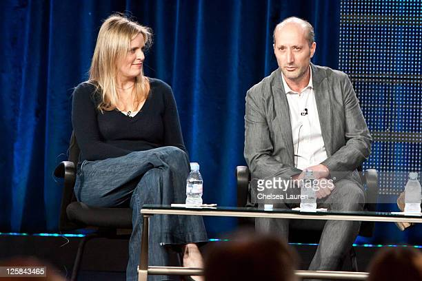 """Executive producers Martha Haight and Tom Spezialy of """"Chaos"""" speak at the 2011 CBS Winter TCA Panel at The Langham Huntington Hotel and Spa on..."""