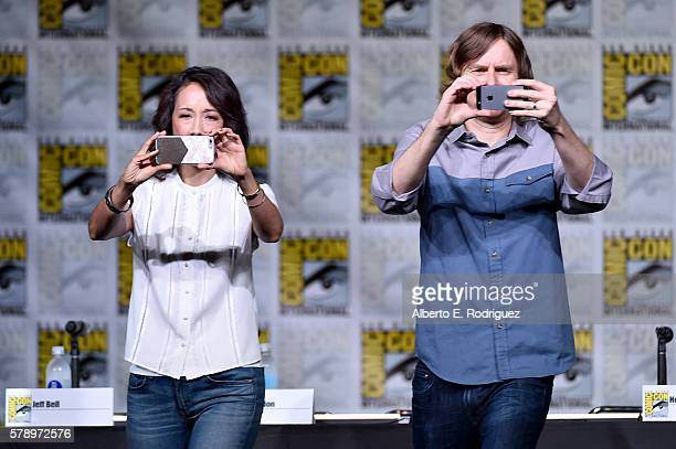 Executive producers Maurissa Tancharoen and Jed Whedon attend the 'Marvel's Agents of SHIELD' panel during ComicCon International 2016 at San Diego...