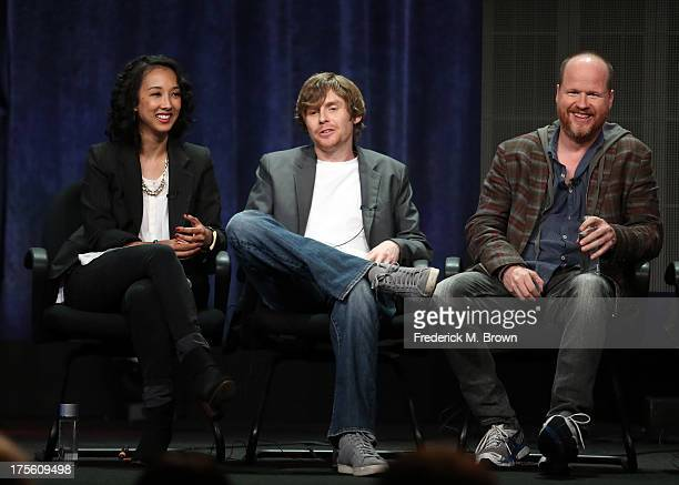 Executive producers Maurissa Tancharoen Jed Whedon and Joss Whedon speak onstage during the Agents of SHIELD panel discussion at the Disney/ABC...