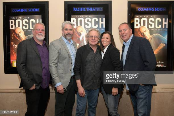 Executive producers Michael Connelly, Henrick Bastin, Eric Overmyer, LAPD consultants Mitzi Roberts and Tim Marcia at the Amazon Original Series...