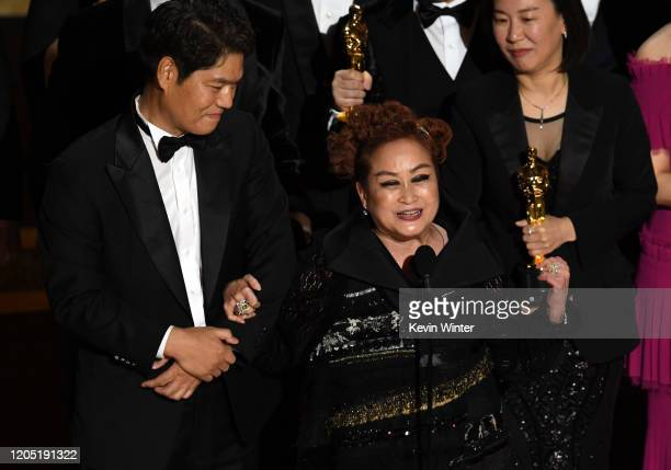 Executive producers Min Heoi Heo and Miky Lee accept the Best Picture award for Parasite during the 92nd Annual Academy Awards at Dolby Theatre on...