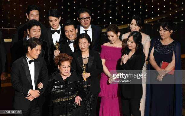 Executive producers Min Heoi Heo and Miky Lee producer Kwak Sinae and Sodam Park accept the Best Picture award for Parasite during the 92nd Annual...