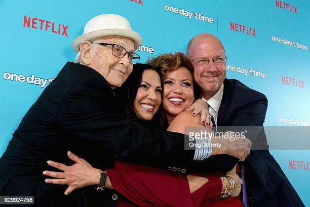 Executive producers Norman Lear and Gloria Calderon Kellett actress Justina Machado and executive producer Mike Royce arrive for the Premiere Of...