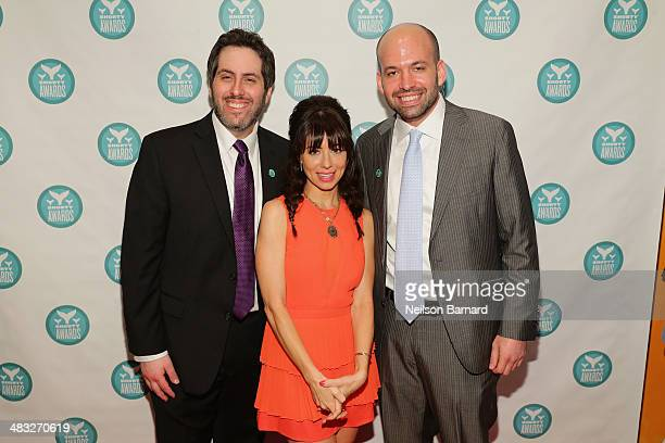 Executive Producers of the Shorty Awards Lee Semel and Greg Galant pose with host Natasha Leggero at the 6th Annual Shorty Awards on April 7 2014 in...