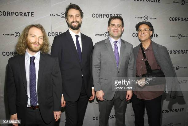Executive producers Pat Bishop Matt Ingebretson Jake Weisman and President of Comedy Central Kent Alterman attend Comedy Central's 'Corporate'...