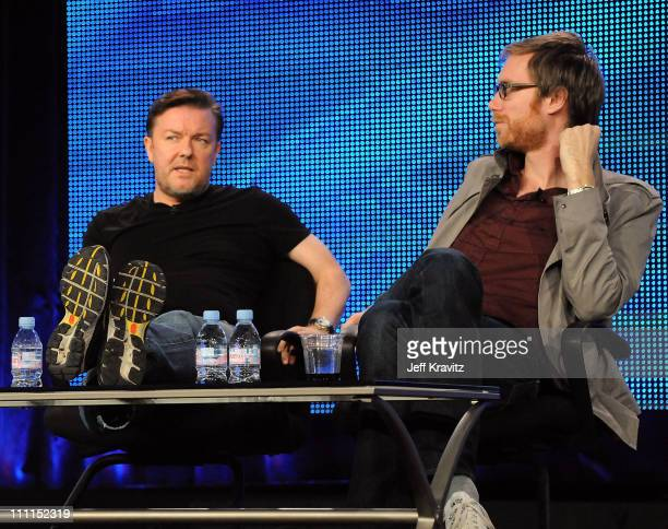 """Executive producers Ricky Gervais and Stephen Merchant of """"The Ricky Gervais Show"""" speak during the HBO portion of the 2010 Television Critics..."""