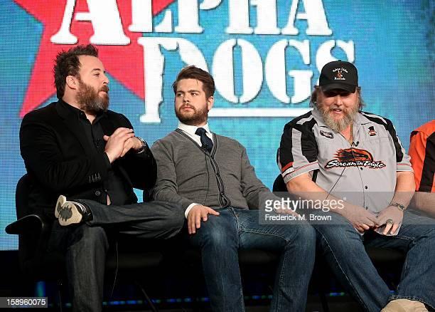 "Executive Producers Rob Worsoff, Jack Osbourne, and Ken Licklider, Owner of Vohne Liche Kennels speak onstage during the ""Alpha Dogs"" panel..."
