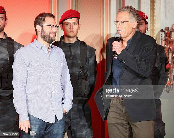 Executive producers Ryan Condal and Carlton Cuse speak onstage during the 'Colony' panel discussion at the NBCUniversal portion of the 2016 Winter...