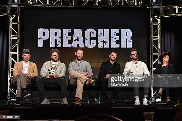 Executive producers Sam Caitlin, Seth Rogen and Evan Goldberg and actors Dominic Cooper, Joseph Gilgun and Ruth Negga speak onstage during the AMC...