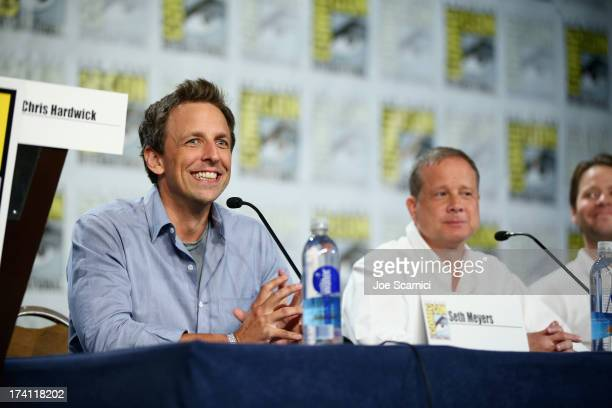 Executive producers Seth Meyers and Michael Shoemaker speak at The Awesomes ComicCon panel at Hilton Bayfront on July 20 2013 in San Diego California