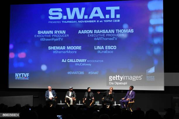 Executive producers Shawn Ryan, Aaron Rahsaan Thomas, actors Lina Esco, Shemar Moore, and moderator AJ Calloway attend the New York Television...