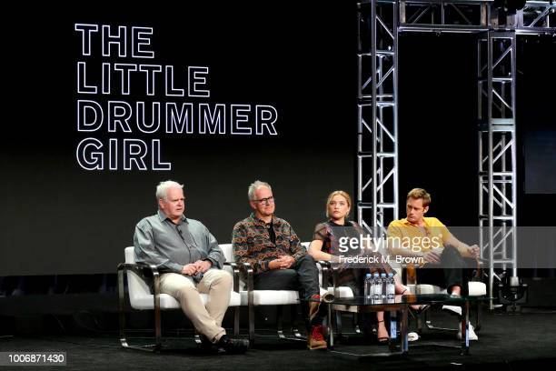 Executive Producers Simon Cornwell and Stephen Cornwell and Actors Florence Pugh and Alexander Skarsgard of 'The Little Drummer Girl' speak onstage...