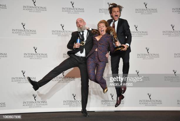 Executive Producers Sofie Peeters Tim Van Aelst and fellow nominee pose with their award for NonScripted Entertainment Award for 'Did You Get The...