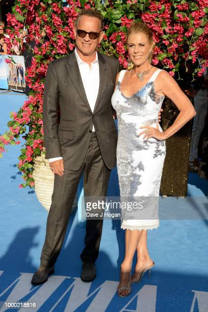 Executive producers Tom Hanks and Rita Wilson attend the UK Premiere of 'Mamma Mia Here We Go Again' at Eventim Apollo on July 16 2018 in London...