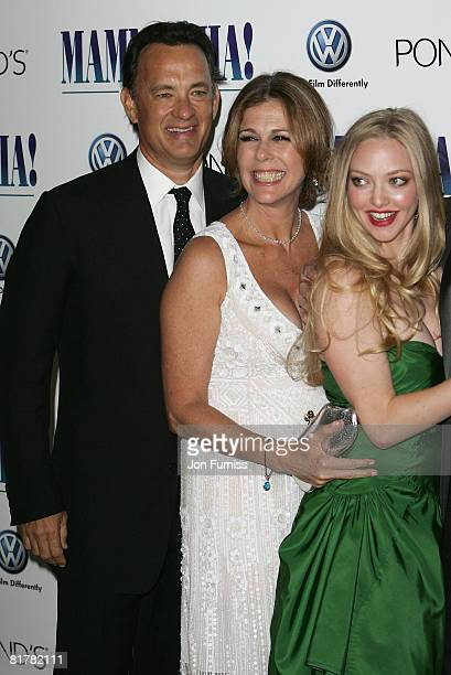 Executive Producers Tom Hanks, Rita Wilson and actress Amanda Seyfried attend the Mamma Mia! The Movie world premiere held at the Odeon Leicester...