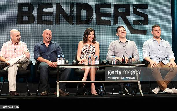 Executive producers Tom Sellitti Jim Serpico actors Lindsey Broad Andrew Schulz and Chris Distefano speak onstage during the 'Benders' panel...