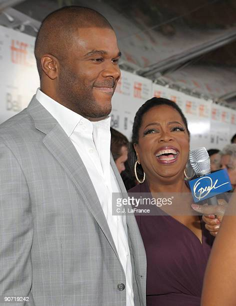 Executive producers Tyler Perry and Oprah Winfrey are interviewed at the 'Precious Based on the Novel 'Push' by Sapphire' screening during the 2009...
